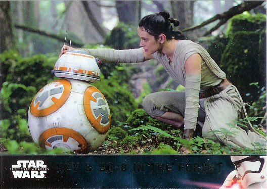2016 Topps Star Wars The Force Awakens #63 Rey & BB-8 in the Forest