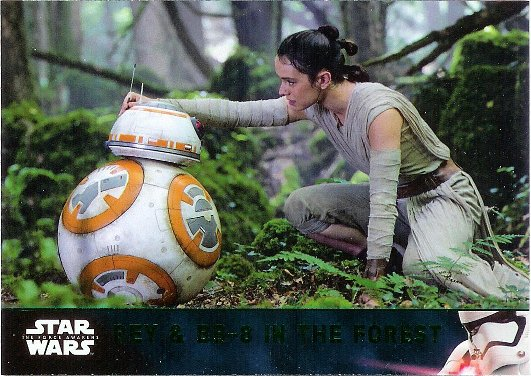 2016 Topps Star Wars The Force Awakens Lightsaber Green #63 Rey & BB-8 in the Forest