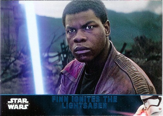2016 Topps Star Wars The Force Awakens Lightsaber Blue #67 Finn Ignites the Lightsaber