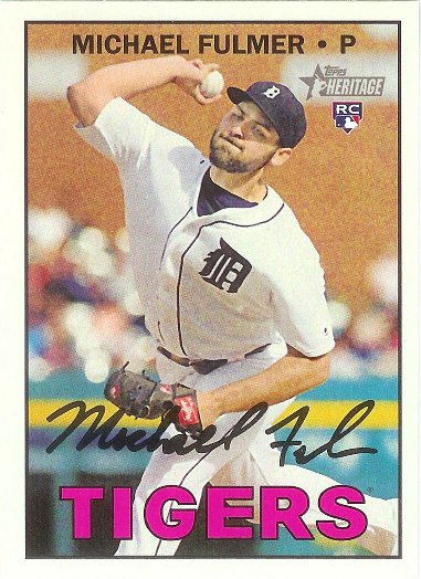 2016 Topps Heritage #648 Michael Fulmer RC VAR SP (Action Image Mid Throw)