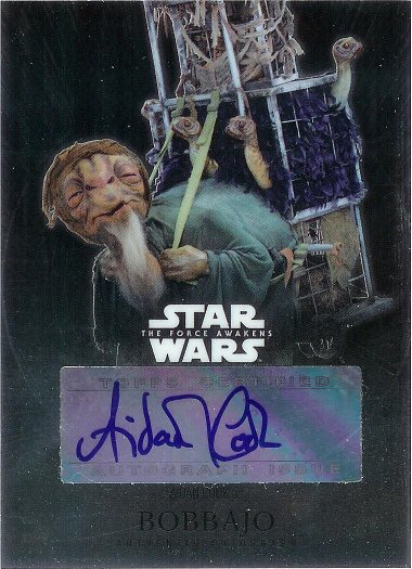 2016 Topps Star Wars The Force Awakens Chrome Autograph #CA-AC Aidan Cook as Bobbajo