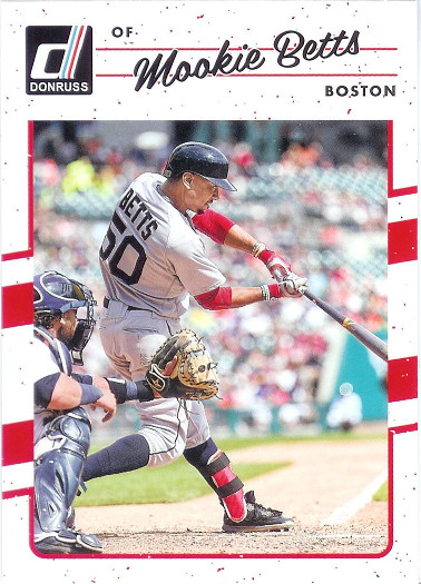 2017 Donruss #59 Mookie Betts VAR SP (Catcher Shown)