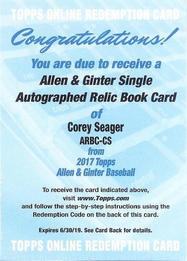 2017 Allen & Ginter Autograph Relic Books #ARBC-CS Corey Seager