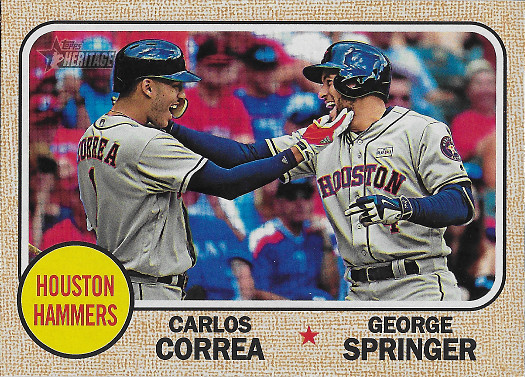 2017 Topps Heritage Combo Cards #CC-3 George Springer / Carlos Correa