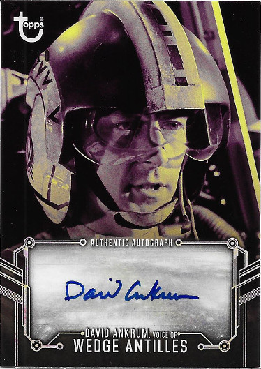2018 Topps Star Wars Black & White Autograph Purple # David Ankrum, Voice of Wedge Antilles