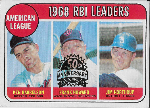 2018 Topps Heritage 50th Anniversary Buybacks 1969 3 AL RBI Leaders - Ken Harrelson/Frank Howard/ Jim Northrup