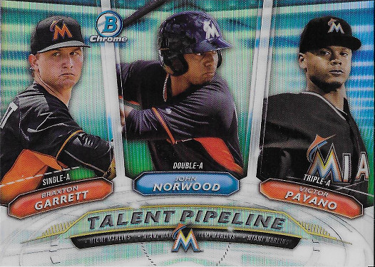 2018 Bowman Talent Pipeline #TP-MIA John Norwood / Victor Payano / Braxton Garrett