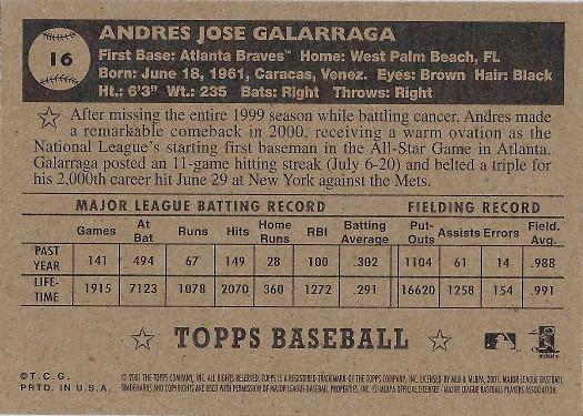 2001 Topps Heritage Black Back #16 Andres Galarraga