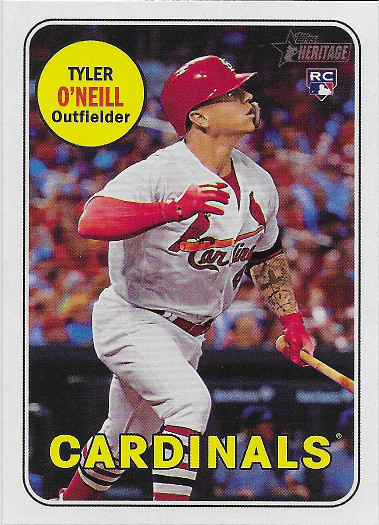 2018 Topps Heritage #612 Tyler O'Neill RC VAR SP (Action After Swing)