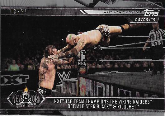 2019 Topps WWE NXT Silver #86 NXT Tag Team Champions The Viking Raiders def. Aleister Black & Ricochet - NXT