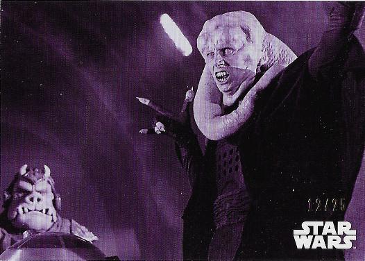 2020 Topps Star Wars Black & White Return of the Jedi Purple Hue Shift #7 Bib Fortuna's annoyance