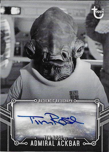 2020 Topps Star Wars Black & White Return of the Jedi Autograph #A-TR Tim Rose as Admiral Ackbar