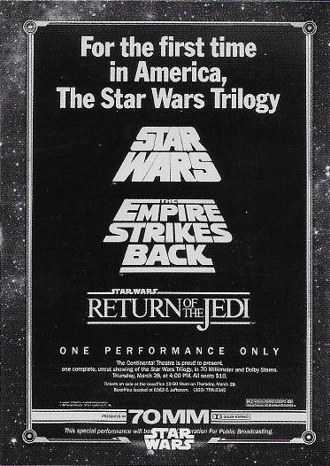 2020 Topps Star Wars Black & White Return of the Jedi Posters #P-3 Star Wars 70MM Marathon Poster