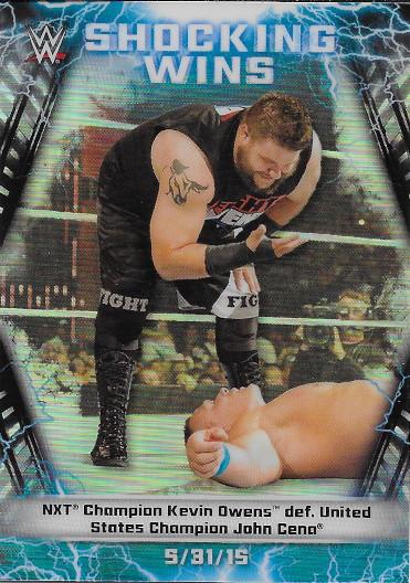 2020 Topps Chrome WWE Shocking Wins #SW-23 Kevin Owens 5/31/15