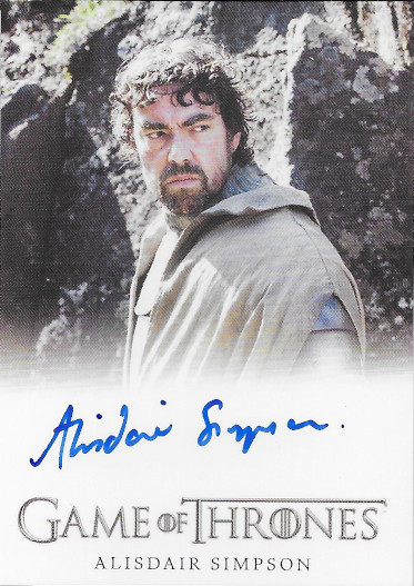2020 Rittenhouse Game of Thrones Complete Series Full-Bleed Autographs # Alisdair Simpson as Ser Donnell Waynwood