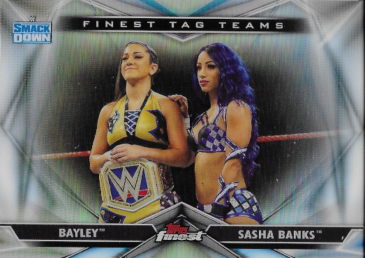 2020 Topps Finest WWE Finest Tag Teams #TT-7 Sasha Banks / Bayley