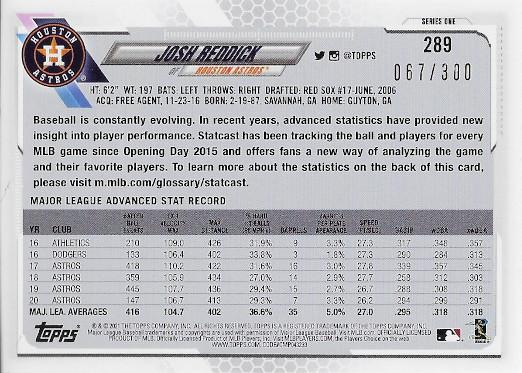 2021 Topps Advanced Stat #289 Josh Reddick