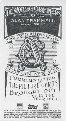 2021 Allen & Ginter Ginter Back Mini #288 Alan Trammell