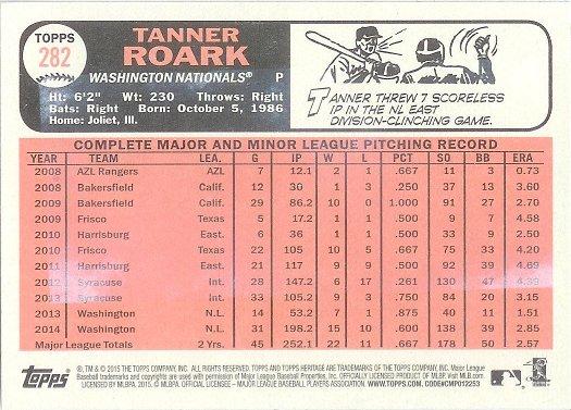 2015 Topps Heritage Gum Stain 282 Tanner Roark