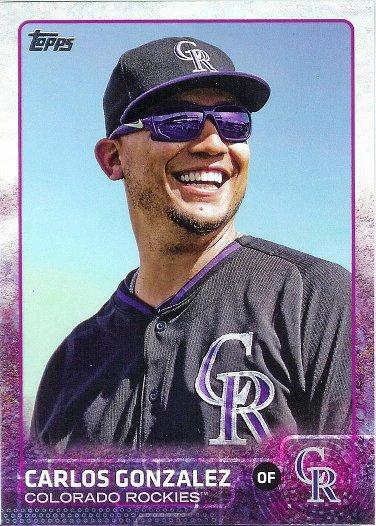 2015 Topps #479 Carlos Gonzalez VAR SP (Sunglasses)