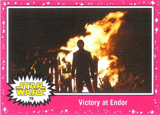 2015 Topps Star Wars: Journey to The Force Awakens Lightsaber Neon Starfield #79 Victory at Endor