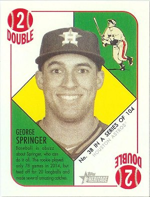 2015 Topps Heritage 51 Collection Green Back Mini #38 George Springer