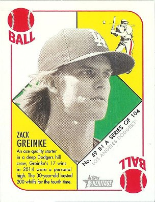 2015 Topps Heritage 51 Collection Black Back Mini #49 Zack Greinke