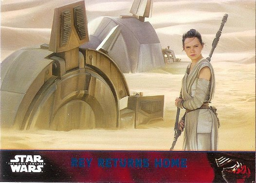 2015 Topps Star Wars The Force Awakens Lightsaber Blue #73 Rey Returns Home
