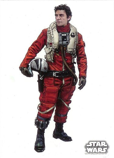 2015 Topps Star Wars The Force Awakens Concept Art #18 Poe Dameron