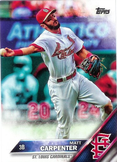 2016 Topps #244 Matt Carpenter VAR SP Camo (Throwing)
